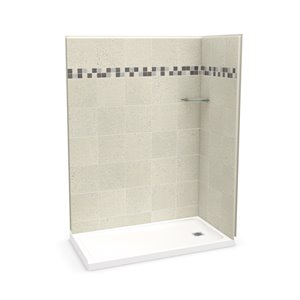 MAAX Utile Corner Shower Kit with Right Drain - 60-in x 32-in x 84-in - Stone Sahara - 3-Piece