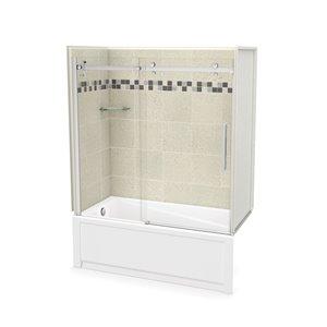 Ens. baignoire-douche Utile par MAAX avec drain à gauche, 60 po x 30 po x 81 po, Stone Sahara/chrome, 5 pièces
