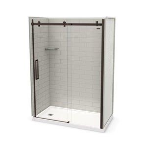Ens. de douche en alcôve Utile par MAAX avec drain à gauche , 60 po x 32 po, gris doux/bronze foncé, 5 pièces