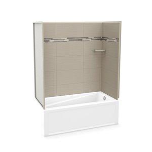 Ens. baignoire-douche Utile par MAAX avec drain à droite, 60 po x 30 po x 81 po, Origine Grège, 4 pièces
