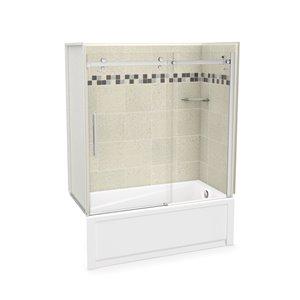 Ens. baignoire-douche Utile par MAAX avec drain à droite, 60 po x 30 po x 81 po, Stone Sahara/chrome, 5 pièces