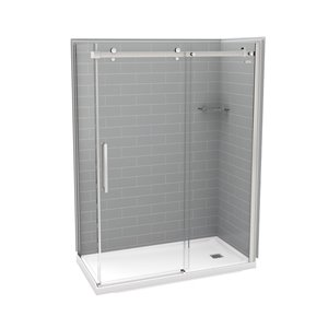 MAAX Utile Corner Shower Kit with Right Drain - 60-in x 32-in x 84-in - Ash Grey/Chrome - 5-Piece