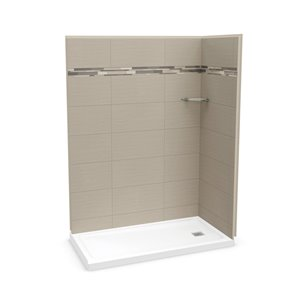 MAAX Utile Corner Shower Kit with Right Drain - 60-in x 32-in x 84-in - Origin Greige - 3-Piece