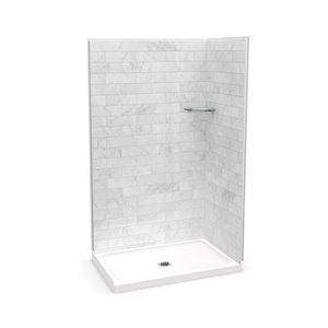 Ens. de douche en coin Utile par MAAX 48 po x 32 po x 84 po, Marbre Carrara, 3 pièces