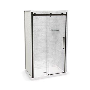 Ens. de douche en alcôve Utile par MAAX avec drain central, 48 po x 32 po, Marbre Carrara/bronze foncé, 5 pièces