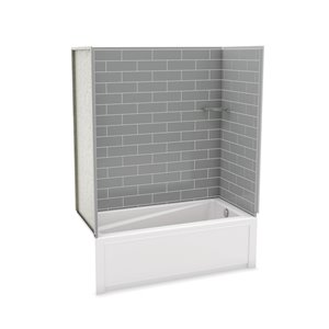 MAAX Utile Bathtub and Shower Kit with Right Drain - 60-in x 30-in x 81-in - Ash Grey - 4-Piece