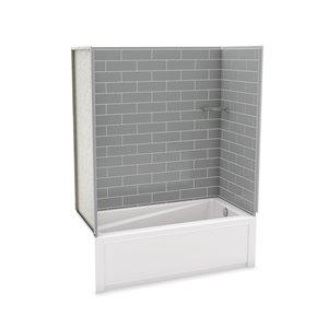 Ens. baignoire-douche Utile par MAAX avec drain à droite, 60 po x 30 po x 81 po, gris cendre, 4 pièces