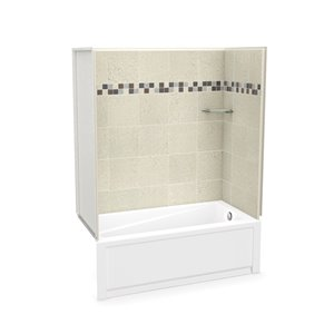 MAAX Utile Bathtub and Shower Kit with Right Drain - 60-in x 30-in x 81-in - Stone Sahara - 4-Piece