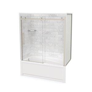 Ens. baignoire-douche Utile par MAAX avec drain à gauche, 60 po x 30 po x 81 po, Marbre Carrara/nickel brossé, 5 pièces