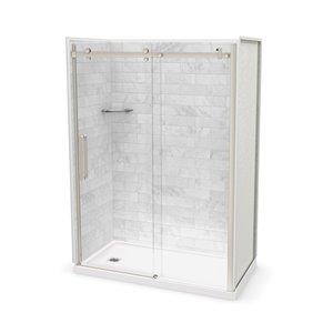 Ens. de douche en alcôve Utile par MAAX avec drain à gauche , 60 po x 32 po, Marbre Carrara/nickel brossé, 5 pièces