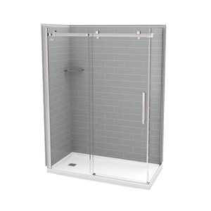 MAAX Utile Corner Shower Kit with Left Drain - 60-in x 32-in x 84-in - Ash Grey/Chrome - 5-Piece