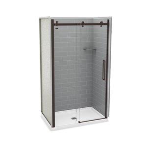 Ens. de douche en alcôve Utile par MAAX avec drain central, 48 po x 32 po, gris cendre/bronze foncé, 5 pièces