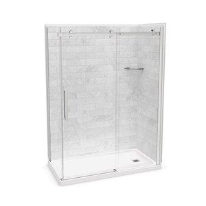 Ens. de douche en coin Utile par MAAX avec drain à droite, 60 po x 32 po x 84 po, Marbre Carrara/chrome, 5 pièces