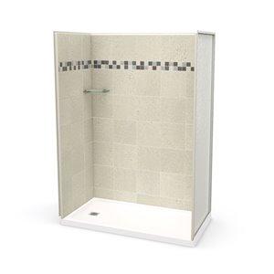 Ens. de douche en alcôve Utile par MAAX avec drain à gauche , 60 po x 32 po, Stone Sahara, 4 pièces