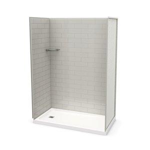 Ens. de douche en alcôve Utile par MAAX avec drain à gauche , 60 po x 32 po, gris doux, 4 pièces