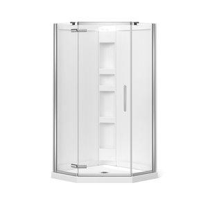 Cabine de douche néo-angle Hana par MAAX avec base et mur, 40 po x 40 po x 78.75 po, chrome, 3 pièces