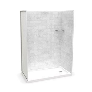 Ens. de douche en alcôve Utile par MAAX avec drain à droite , 60 po x 32 po, Marbre Carrara, 4 pièces