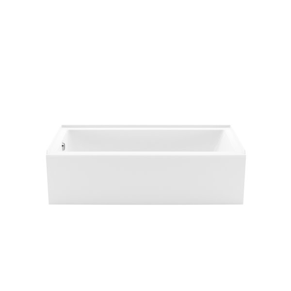 MAAX Bosca Access AFR Alcove Acrylic Bathtub with Left Drain and Anti-Slip Floor - 60-in x 30-in - White