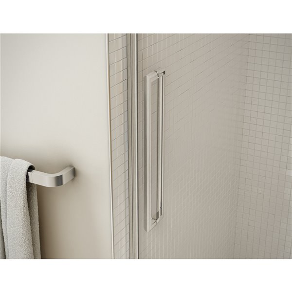 MAAX Utile Corner Shower Kit with Central Drain - 48-in x 32-in x 84-in - Marble Carrara/Brushed Nickel - 5-Piece