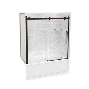 Ens. baignoire-douche Utile par MAAX avec drain à droite, 60 po x 30 po x 81 po, Marbre Carrara/bronze foncé, 5 pièces