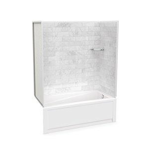Ens. baignoire-douche Utile par MAAX avec drain à droite, 60 po x 30 po x 81 po, Marbre Carrara, 4 pièces