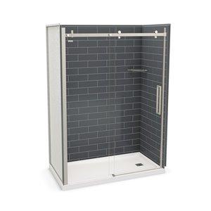 Ens. de douche en alcôve Utile par MAAX avec drain à droite , 60 po x 32 po, gris foudre/nickel brossé, 5 pièces