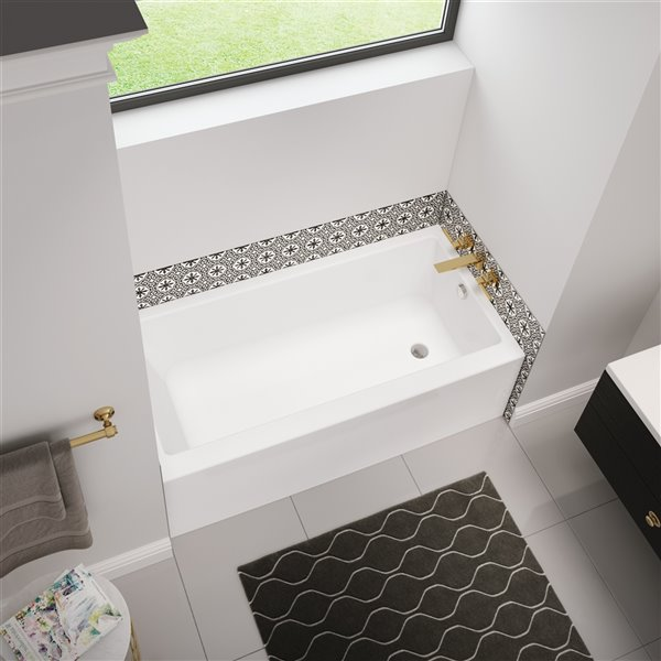 MAAX Bosca Alcove Acrylic Bathtub with Right Drain - 60-in x 32-in - White