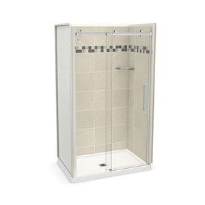 Ens. de douche en alcôve Utile par MAAX avec drain central, 48 po x 32 po, Stone Sahara/chrome, 5 pièces