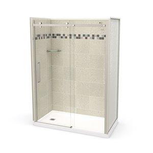 Ens. de douche en alcôve Utile par MAAX avec drain à gauche , 60 po x 32 po, Stone Sahara/nickel brossé, 5 pièces