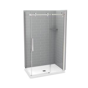 Ens. de douche en coin Utile par MAAX avec drain central, 48 po x 32 po x 84 po, gris cendre/chrome, 5 pièces
