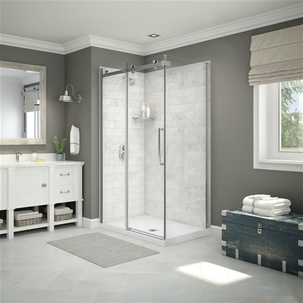 MAAX Utile Corner Shower Kit with Central Drain - 48-in x 32-in x 84-in - Marble Carrara/Chrome - 5-Piece