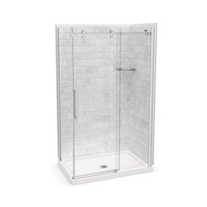 Ens. de douche en coin Utile par MAAX avec drain central, 48 po x 32 po x 84 po, Marbre Carrara/chrome, 5 pièces