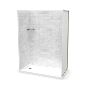 MAAX Utile Alcove Shower Kit with Left Drain - 60-in x 32-in - Marble Carrara - 4-Piece