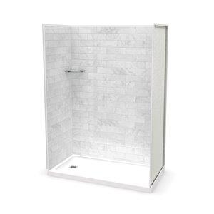 Ens. de douche en alcôve Utile par MAAX avec drain à gauche , 60 po x 32 po, Marbre Carrara, 4 pièces