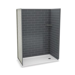 MAAX Utile Alcove Shower Kit with Right Drain - 60-in x 32-in - Thunder Grey - 4-Piece