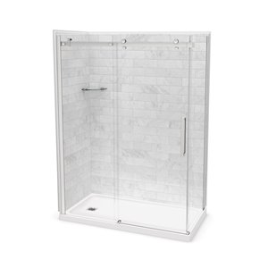 MAAX Utile Corner Shower Kit with Left Drain - 60-in x 32-in x 84-in - Marble Carrara/Chrome - 5-Piece