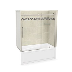 MAAX Utile Bathtub and Shower Kit with Right Drain - 60-in x 30-in x 81-in - Stone Sahara/Brushed Nickel - 5-Piece