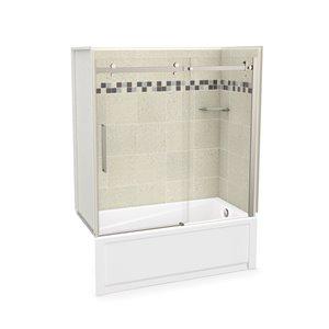 Ens. baignoire-douche Utile par MAAX avec drain à droite, 60 po x 30 po x 81 po, Stone Sahara/nickel brossé, 5 pièces