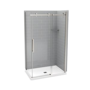 MAAX Utile Corner Shower Kit with Central Drain - 48-in x 32-in x 84-in - Ash Grey/Brushed Nickel - 5-Piece