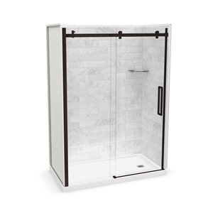MAAX Utile Alcove Shower Kit with Right Drain - 60-in x 32-in - Marble Carrara/Dark Bronze - 5-Piece