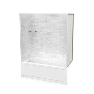 Ens. baignoire-douche Utile par MAAX avec drain à gauche, 60 po x 30 po x 81 po, Marbre Carrara, 4 pièces