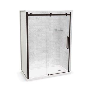 MAAX Utile Corner Shower Kit with Right Drain - 60-in x 32-in x 84-in - Marble Carrara/Dark Bronze - 5-Piece