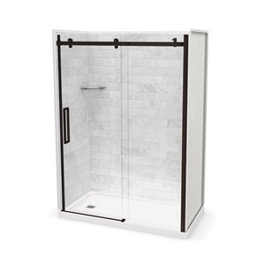 MAAX Utile Alcove Shower Kit with Left Drain - 60-in x 32-in - Marble Carrara/Dark Bronze - 5-Piece