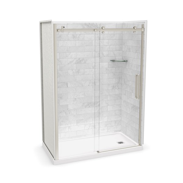 MAAX Utile Alcove Shower Kit with Right Drain - 60-in x 32-in - Marble Carrara/Brushed Nickel - 5-Piece