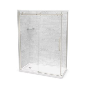 Ens. de douche en coin Utile par MAAX avec drain à gauche, 60 po x 32 po x 84 po, Marbre Carrara/nickel brossé, 5 pièces