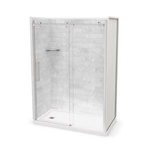 Ens. de douche en alcôve Utile par MAAX avec drain à gauche , 60 po x 32 po, Marbre Carrara/chrome, 5 pièces