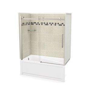 Ens. baignoire-douche Utile par MAAX avec drain à gauche, 60 po x 30 po x 81 po, Stone Sahara/nickel brossé, 5 pièces