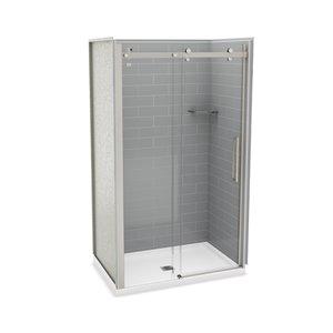 Ens. de douche en alcôve Utile par MAAX avec drain central, 48 po x 32 po, gris cendre/nickel brossé, 5 pièces