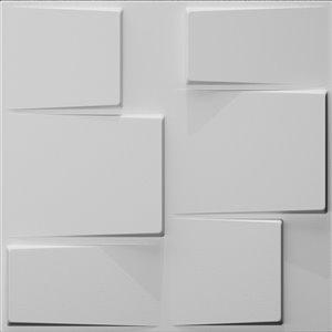 Dundee Decor Falkirk Fifer Geometric Steps 3D Wall Panel - 1.6-ft x 1.6-ft - Off-White - 10-Pack