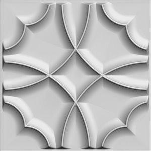 Dundee Decor Falkirk Fifer Quatrefoil Clover 3D Wall Panel - 1.6-ft x 1.6-ft - Off-White - 1-Pack
